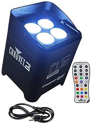 Package: (4) Chauvet DJ Freedom Par Hex 4 Wireless DMX LED Wash/Up-Lights + Chauvet DJ Obey 40 D-Fi 2.4 Wireless DMX Lighting Controller + (12) Rockville RDX3M25 25' 3-Pin Male-Female DMX Cables