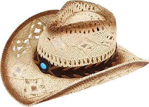 Women & Men's Classic Western Cowboy Hat Summer Straw Sun Hat, Blue Bead Emblem