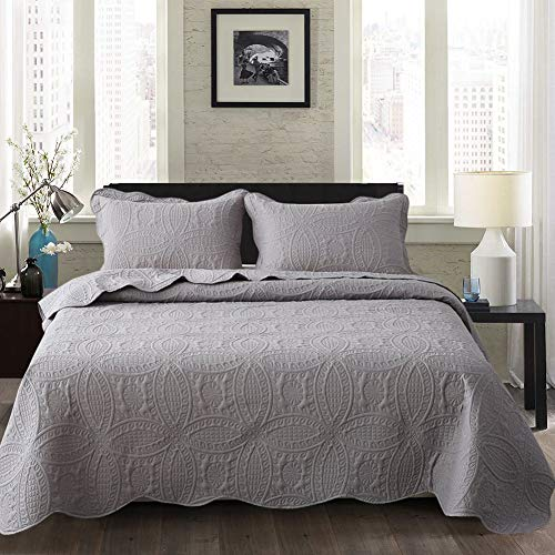 Travan Bedspread Quilt Set 3-Piece Oversized Quilted Coverlet Set with Shams, Grey Embossed, Queen (Sets Quilted Bedspread)