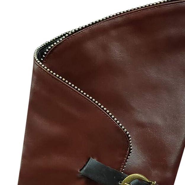 S&H NEEDRA Stivali Alti Donna Vintage Comode Tacco Basso Largo Stivaletti Biker Fibbia della Cintura Scarpe Invernali Stile Britannico