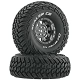 Duratrax Scaler 1.9 Inch RC Rock Crawler Tires with Foam Inserts, C3 Super Soft Compound, Moderate Traction, Mounted on Black Chrome Wheels, (Set of 2)