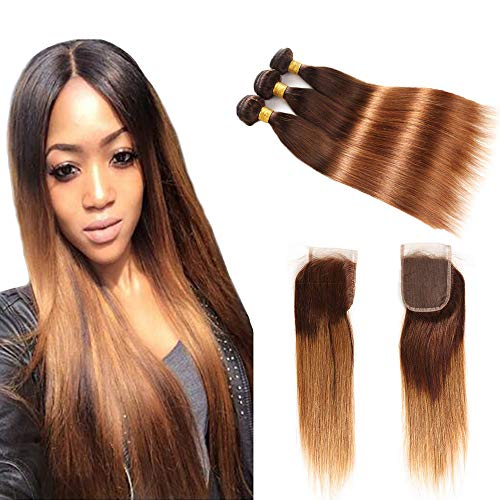 Ombre Brazilian Hair Straight Hair Ombre Bundles With Closure, 2 Tone Ombre Human Hair Bundles with Closure, T4/30 Medium Brown/Auburn(14