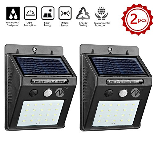 Zeben Solar Lights Outdoor Waterproof Wall Light 20 LED Flood Lighting Motion Sensor Auto On/Off Porch Lights for Patio Deck Yard Step Garden(2 Pack)