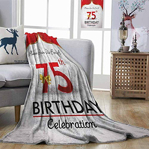 Zmstroy Travel Throwing Blanket 75th Birthday Royal Birthday Party Floral Invitation Ceremony Please Join Us Gold Vermilion Silver Plush Throw Blanket W57 xL74 -