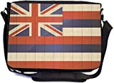 Rikki Knight Hawaii Flag on Distressed Wood Design Multifunctional Messenger Bag - School Bag - Laptop Bag - with Padded Insert for School or Work - Includes Matching Compact Mirror