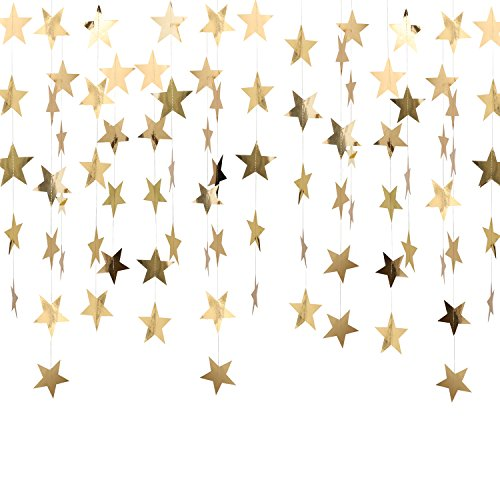 Whaline 52 Feet Reflective Star Paper Garland Sparkling Star Bunting Banner for Wedding Birthday Party Holiday Decorations, 2.75 Inches (Gold) ¡­