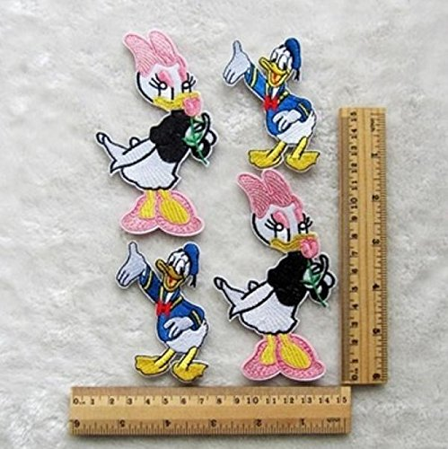 4pcs Daisy duck&Donald Duck Fabric Embroidery Iron Sew On Patch Motif Applique by Rnuchat