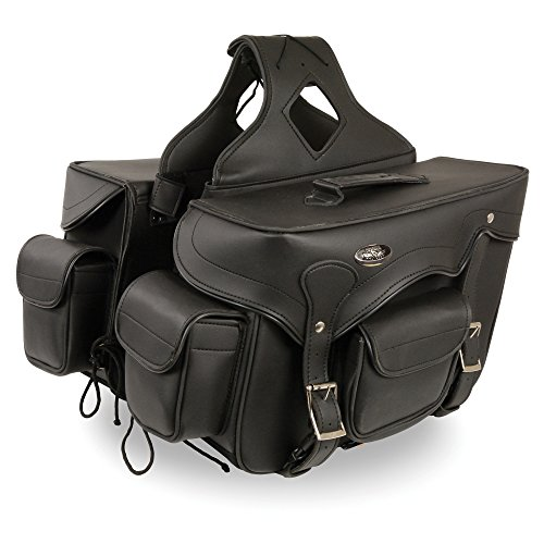- Zip-Off Double Front Pocket PVC Throw Over Saddle Bag w/Reflective Piping