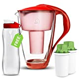 Dafi Alkaline UP Crystal Pitcher 8 Cups - Buy Unique Glass Alkaline Water Pitcher and Get Free Sport Bottle for Fast and Best Hydration! (Red)