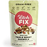 Kitchfix Grain-Free Paleo Granola | Vegan Plant-based protein from nuts and seeds | Certified gluten-free | Low sugar, low carb granola | Roasted in pure coconut oil | Triple Berry 10oz