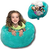 "Stuffed Animal Bean Bag Storage - ""Soft 'n Snuggly"" Comfy Plush Fabric Kids Prefer Over Canvas - Replace Your Mesh Toy Hammock or Net - Store Blankets & Pillows Too"