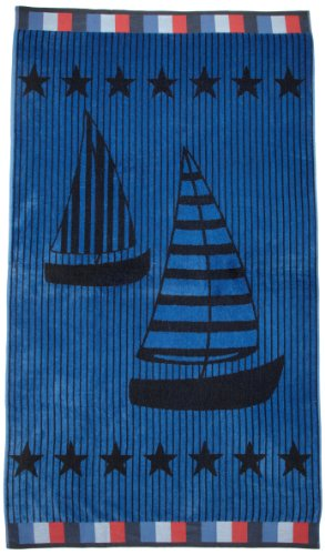 (Northpoint Newport Oversized Double Jacquard Plush Velour Beach Towel, 40 by 70-Inch, Sailing in Style)