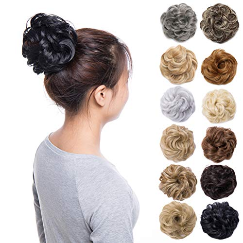 (Scrunchy Updo Wavy Straight Hair Bun Clip Messy Donut Chignons Synthetic Hairpiece Hair Extension (dark black-thicker))