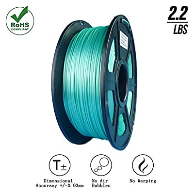 SunTop PLA 3D Printing Filament 1.75mm Silk Green, Rohs Compliance, 1 kg (2.2lbs) Spool, Dimensional Accuracy +/- 0.03 mm