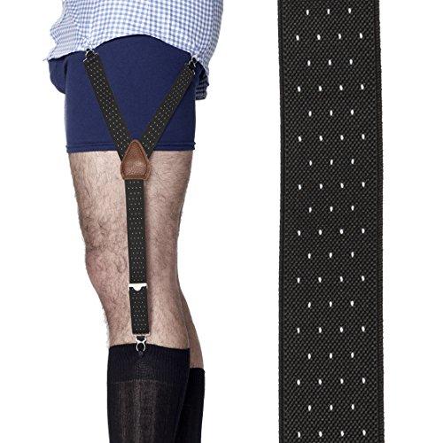 KK & JAY SUPPLY CO. - The ORIGINAL Premium Stay Tucked Shirttail Garters - Made in Brooklyn USA - Jackson Pin Dot Shirt Stays (Black/White)
