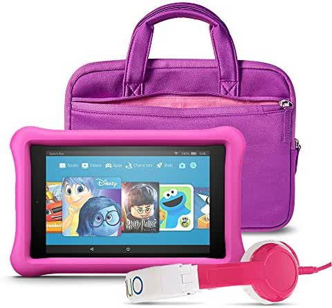 All-New Fire HD 8 Kids Listening Bundle with Fire HD 8 Kids Edition (Pink), NuPro Sleeve (Purple/Pink) and Onanoff Foldable Headphones (Pink)