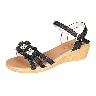 c4338c833 HHei K Women Summer Fashion Flower Bling Wedges Beach Sandals Shoes Buckle  Strap Platform High Heel Wedge