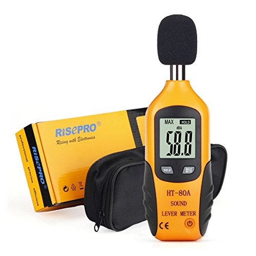 Decibel Meter, RISEPRO Digital Sound Level Meter 30 – 130 dB Audio Noise Measure Device Dual Ranges HT-80A