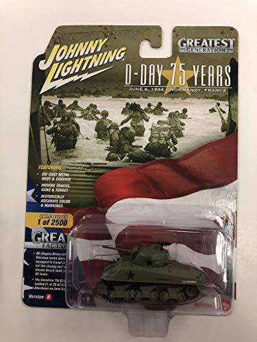 (Johnny Lightning JL Greatest Generation D-Day 75 Years Ver B WWII M4A3 Sherman Tank)