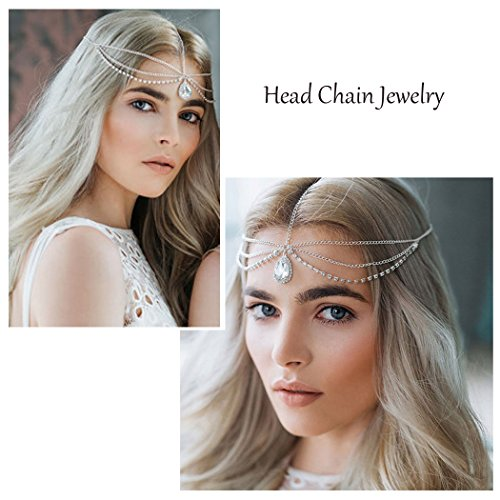 Simsly Head Chain Jewelry with Rhinestione Pendant Hair Headpiece for Women and Girls FV-063]()