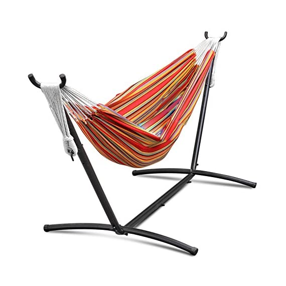 Flexzion Double Hammock With Steel Stand Combo Space Saving Elegant Tropical Stripe with Portable Carrying Case for Outdoor Camping Garden Park Accommodate 2 Adults Weight Capacity 450lbs - Double hammock with space-saving stand Hammock made of 100% cotton Space-saving 9-Foot stand is constructed of heavy duty steel and assembles in minutes without any tools - patio-furniture, patio, hammocks - 51uOd4T2%2BeL. SS570  -