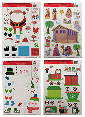 Window Scenes For Christmas - Christmas Window Cling Decorations - 4 Large Sheet Sets Featuring Nativity Scene, Snowmen, Santa and Holiday Trains