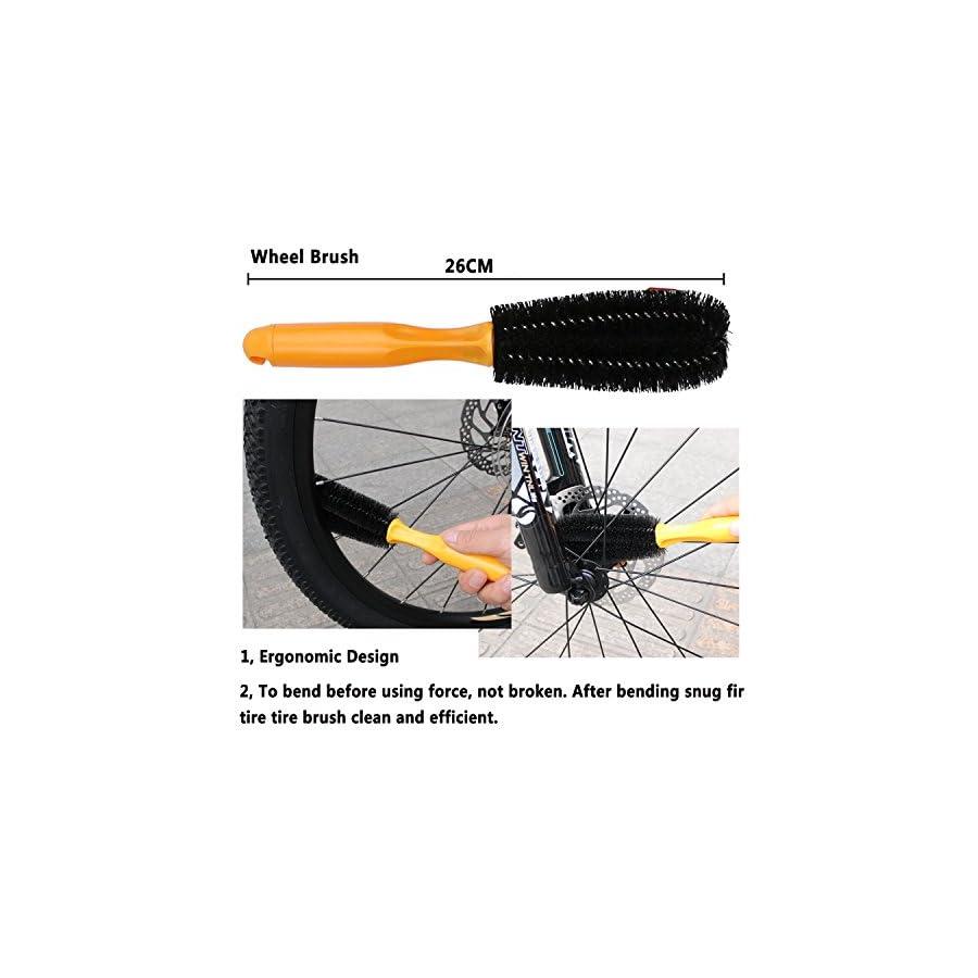 Oumers Bike Clean Brush Kit, Motorcycle Bike Chain Cleaning Tools Make Chain/Crank/Tire/Sprocket Bike Corner Stain Dirt Clean Durable/Practical fit All Bike