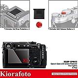 Kiorafoto 2 Pack Optical Glass Screen Protector + Red Convex Surface Camera Shutter Release Button Cap + Hot Shoe Anti-Scratched Cover for Fujifilm Xpro2 Mirrorless Camera Fuji X-Pro2 Screen Protector