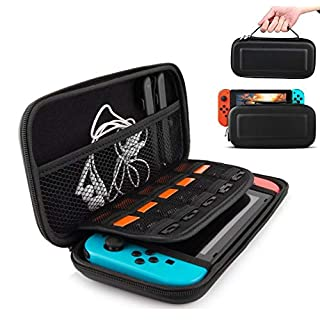 IHK Carrying Case Compatible With Nintendo Switch , 10 Game Card Inserts , Hard Shell Pouch Protective Hard Portable Travel and Storage Carry for Nintendo Switch Case Game Console & Accessories Black