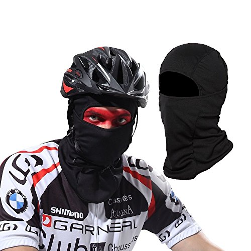 Windproof Balaclava Full Face Mask for Motorcycle Neck Warmer Hiking Ski Skateboard Cycling Outdoor Sports, Protection from Cold Wind Dust and Sun UV Rays, Best Helmet liner Balaclava Hood Hat –Black (Black Hood Liner)