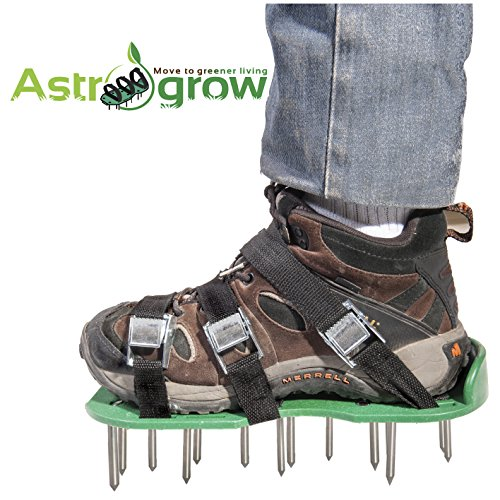 Astrogrow premium Lawn Aerator Shoes - Heavy Duty Spiked Aerator Sandals for Revive Lawn or Yard Aeration - 4 Strong Metal Buckles with 4 Adjustable Straps - Free Bonus effective EBook & Wrench by Astrogrow