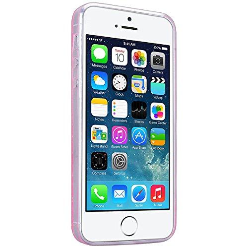 HB-Int für iPhone 5 / 5S / SE Weich Silikon Back Hülle Bling Pailletten Transparent Durchsichtige Dünn Schutzhülle Rosa Flexible Case Glatt Schale Full Body Bumper Shell Handytasche
