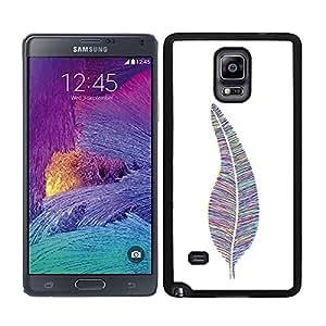 Funda carcasa TPU (Gel) para Samsung Galaxy Note 4 diseño pluma estampado de colores borde negro