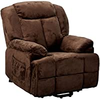 Coaster Home Furnishings  Modern Transitional Power Lift Wall Hugger Recliner Chair with Emergency Backup - Chocolate Textured Padded Velvet