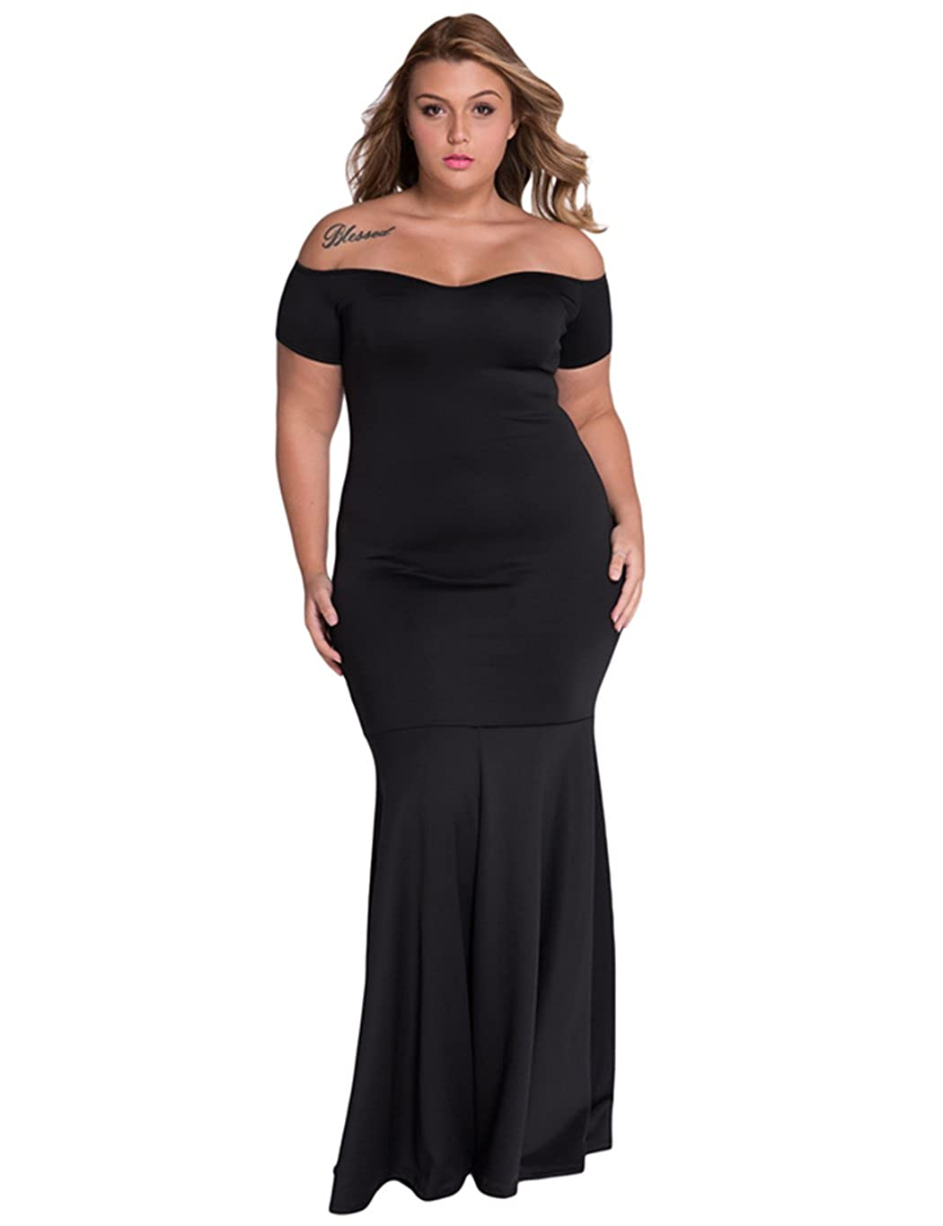 ca55d051ce Bodycon fit long dress, made of thick smooth stretch fabric. Elegant dress  for evening party, finished with mermaid skirt style hemline. Plus size ...
