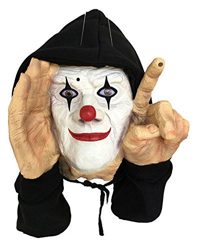 Motion Sensor Scary Realistic Hooded Scary Peeper Tapping Clown Window Prop - Haunted House Prank Decoration Display Window (Graveyard Halloween Ideas)