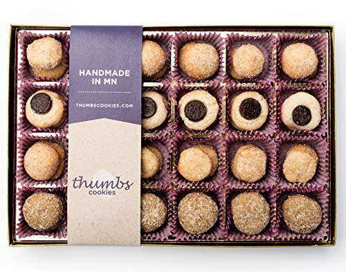 - Thumbs Cookies Large Gift Box of Fresh Baked Gourmet Cookies - Assorted Box with Peanut Butter Sea Salt, Cinnamon and Sugar, Ginger Clove, and Dark Chocolate Chip Cookies - 48 Cookies in Each Box