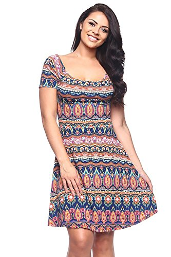 Boho-Chic Vacation & Fall Looks - Standard & Plus Size Styless - Womens Plus Size Colorful Abstract Print Skater Dress