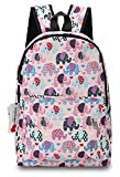 "Ropper Lightweight Canvas Cute Pattern Kids School Backpack,15"" (Pink-Elephant)"