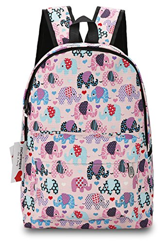 Ropper Lightweight Canvas Cute Pattern Kids School Backpack,15' (Pink-Elephant)