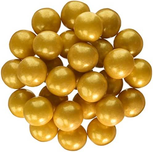 Sweetworks Celebration Candy Gumballs Bag, 8 oz, Shimmer Gold