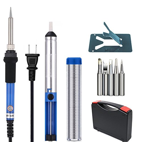 Soldering Iron Kit 6 in 1 SetTaotree 60W 110V Adjustable Temperature Welding Soldering Iron with Tool Carry Case Including Extra 5pcs Different Soldering TipsSoldering SuckerSolder WireY Stand