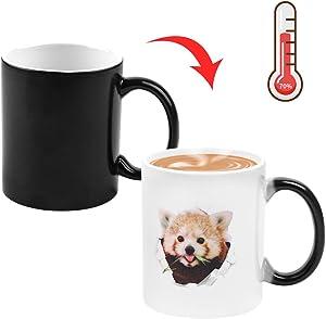 12OZ Red Panda Color Changing Mug, COAWG Cute Ceramic Magic Heat Sensitive Changing Coffee Mug Novelty Coffee Tea Gift Birthday Anniversary Mother`s Father`s Day Girl, Boy (Raccoon, 12oz)