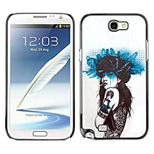Paccase / SLIM PC / Aliminium Casa Carcasa Funda Case Cover - Smoking Girl Butterfly Tattoo - Samsung Note 2 N7100