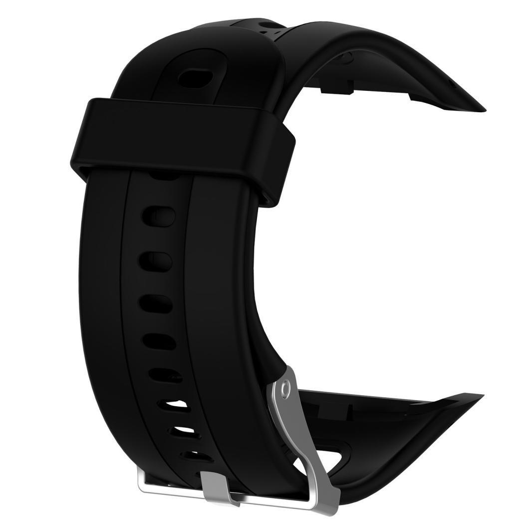 zty66ソフトシリコン時計バンドの交換用ピンバックル付きfor Garmin Forerunner 10 watch  ブラック B07439VHXX