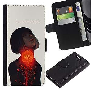Paccase / Billetera de Cuero Caso del tirón Titular de la tarjeta Carcasa Funda para - Passion Woman Quote Love Spring - Sony Xperia Z1 Compact D5503