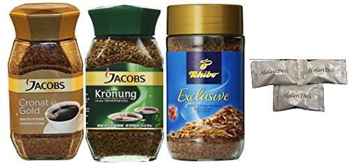 (pack of 3 ) Assorted Instant Coffee Jacobs Cronat Gold, Jacobs Kronung, Tchibo Arabica. Includes Our Exclusive HolanDeli Chocolate Mints.