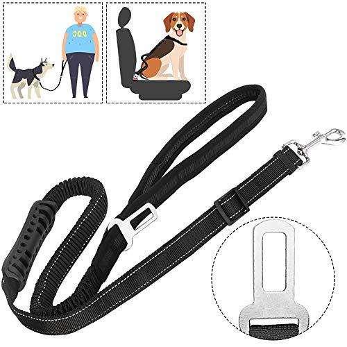 Slowton Correa del perro & cinturón de cinturón del perro,2 en 1 perro cinturón de seguridad del coche + correa,...