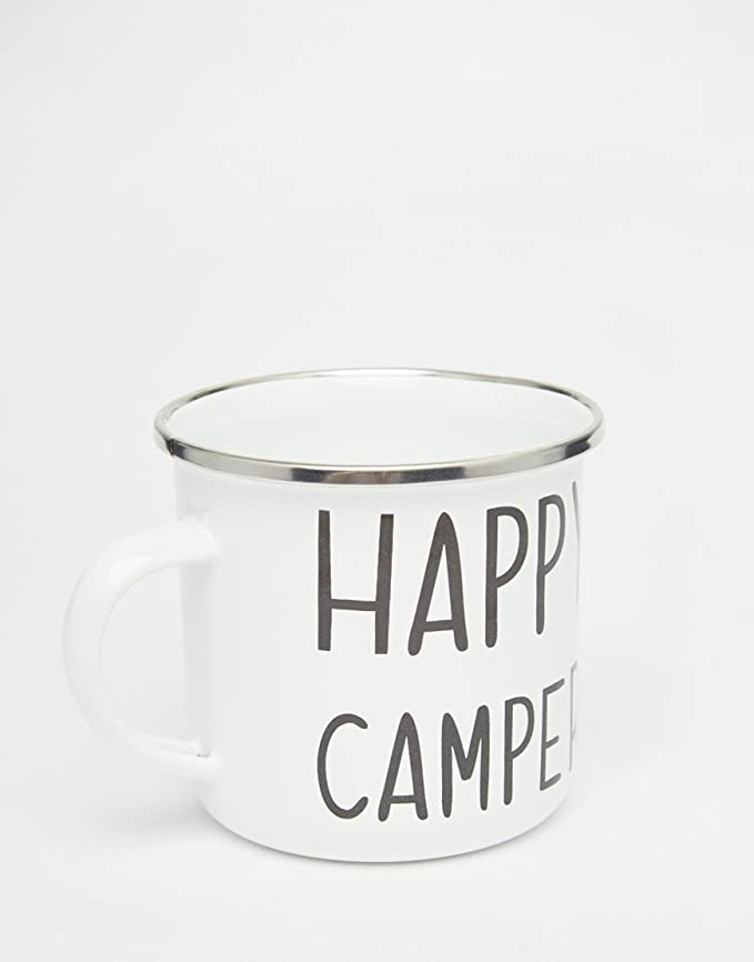Taza esmaltada con texto /«Happy Camper/»