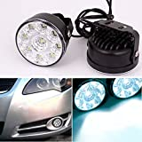 CHAMPLED 2x 9LED Car Front Fog Tail Lamp Round Form Daylight Daytime Driving Running Light ForBMW M BENZ AUDI VW VOLKSWAGEN VOLVO JAGUAR